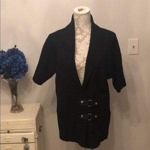 Black cardigan with clips on front